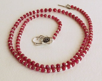 Luscious Ruby Necklace, With Sterling Silver Beads and Clasp,  Smokeylady54