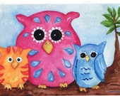 Owls Greeting Card - Print from my original watercolor, 5 x 7 colorful Owls on a branch. all occasion greeting cards