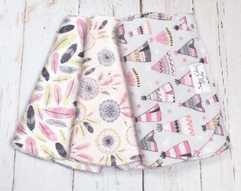 Burp Cloths Baby Girl - Set of 3 - Super Absorbent Chenille Triple Layer - Pink, Gray, Tee Pees, Dreamcatcher, Feathers - PINK & GRAY BOHO