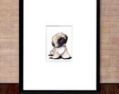 Framed ORIGINAL Art Drawing Pekingese Dog ACEO