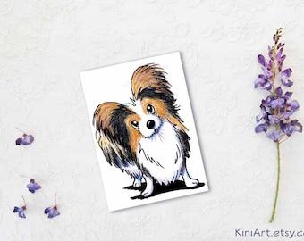 Tricolor Papillon Matted Original ACEO Dog Art
