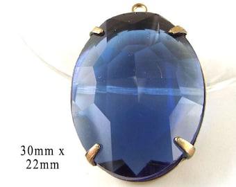 Sheer Sapphire Blue, Glass Pendant, Patina Brass Setting, Oval, Rhinestone Jewel, 30mm x 22mm, September Birthstone, Glass Bead, Glass Gem