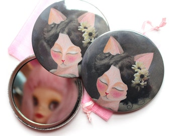 Cat pocket mirror - Glamour Puss - cat painting illustration Vintage cat lady cat art