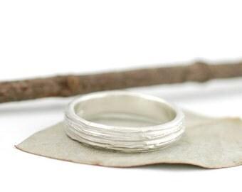Tree Bark Wedding Ring - Palladium Sterling Silver Wedding Band - 4mm - made to order wedding ring in recycled metal