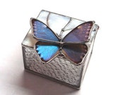 Stained Glass Box with Real Blue Morpho Butterfly - Wildlife Gifts - Jewelry Storage