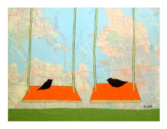 Saddlerock Map Print // Map Art // Bird Art // Swing Art // Modern Print // Modern Kid Art // Modern Nursery // Rachel Austin Art 11x14