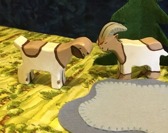 Handmade Wooden Goats - Set of 2 - Waldorf/Montessori Inspired Toys