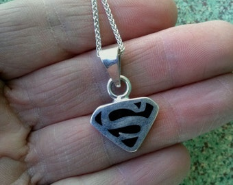 Vintage 1980s Necklace Sterling Silver Superman 18 Inch Mens Womens 20160205J187