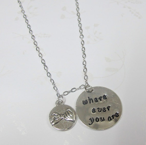 Where Ever You Are Necklace, Best Friend Necklace,BFF Jewelry,Pinky Promise Necklace,Grey's Anatomy, Friendship Necklace, Free Shipping USA