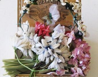 Antique millinery flowers, floral supplies, bouquets, corsages