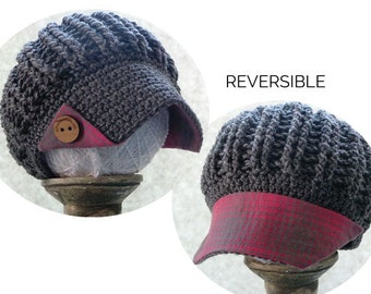 gray newsboy with pink & gray plaid fabric brim and wood buttons, reversible hat, baseball cap, crochet hat with brim, plaid hat, tartan hat