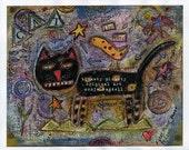 "Art Print From Mixed Media Original Canvas 8"" x 10"" Outsider Folk Art Primitive  Free Shipping Artist Hickety Pickety"
