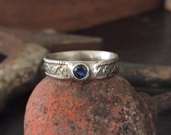 White gold ring sapphire ring ancient pattern ring cast ring recycled gold
