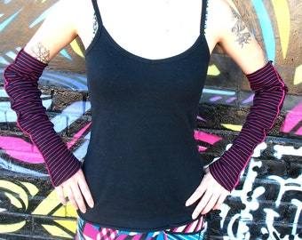 HOT STRIPES Arm Warmers - Black Hot Pink stripes Med to Large  gauntlets Womens opera length arm warmers 16 inch, above elbow punk indie