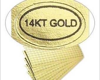 """Classy Gold Adhesive Oval Labels """"14K Gold"""" 1/2x5/16"""" 50pcs"""