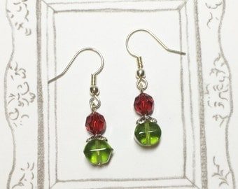 Christmas Tree with Red Light Swarovski Crystal Earrings, Christmas Tree Earrings, Christmas Earrings, Christmas Jewelry, Christmas Gift