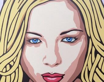 ORIGINAL Modern POP Art Woman Portrait Painting 30x18 Yellow Hair Blonde Woman Acrylic Artwork