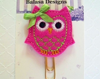 Magenta Pink Owl Planner Clip, Bookmark, Planner Accessory, Paper Clip