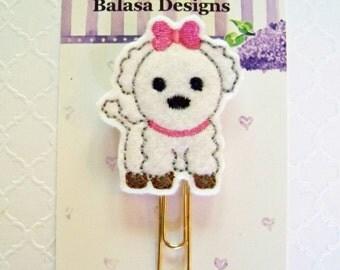 White Maltese Puppy Dog Planner Clip, Bookmark, Planner Accessory, Paper Clip