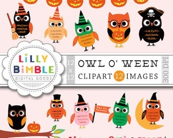 80% off OWL-O-WEEN Halloween Owl clipart with pirates, witches, superhero, dressed owls, cute, Instant Download