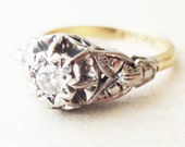 Art Deco Leaf Framed Diamond Solitaire Engagement Ring, Platinum and 18k Gold Engagement Ring, Approx. Size US 6.25