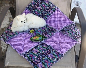 Cat Blanket, Cat Quilt, Cat Bed, Purple Cat Bed, Cat Accessories, Cat Bed With Toy, Luxury Cat Blanket, Travel Cat Bed, Crate Mat, Catnip