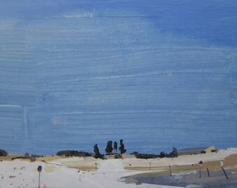 Blue Way, Original Winter Landscape Collage Painting on Panel, Stooshinoff