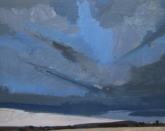 East Sky, March 13, Original Winter Skyscape Collage Painting on Panel, Stooshinoff