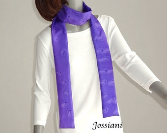 Purple Skinny Scarf Hand Painted Silk, Unique Long Scarf, Artisan Handmade Belt Tie Sash Hat Band, One of a Kind Unisex Gift, Gift for Girl.