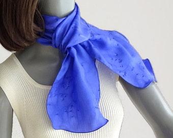 Blue Small Silk Scarf, Indigo Head Band, Hair or Hat Tie, Ponytail Scarf, Blue Neck Scarf, Blue Hair scarf, Hand Painted Pure Silk, Jossiani