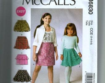 McCall's Girls' Skirts Pattern 6830