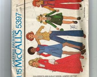 McCall's  Girls' Dress, Jumper or Top Pattern 5397