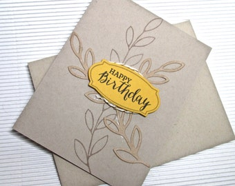 Happy birthday card handmade stamped embellished stationery greeting home living