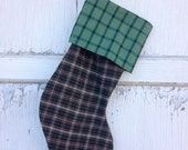 40% OFF FLASH SALE- Green Plaid Stocking -Christmas Stocking-