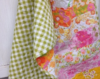 30% OFF SUPER SALE- Upcycled Baby Quilt-  Flower Power Linens Collection-Pink Summer Sunrise