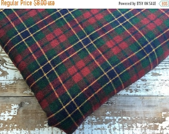 30% OFF SUPER SALE- Wool Plaid Fabric-Classic-Green and Red and Navy