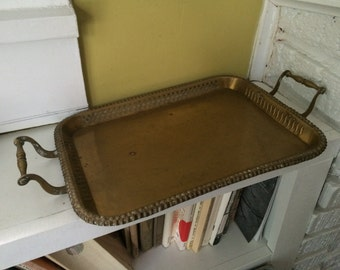 Brass Serving Tray / With Handles / Ornate Edges / Regency