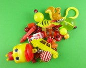 Red and Yellow Bag Charm, Fueki mascot keychain, big kitsch keyring, toys charms beads, Harajuku Decora, kawaii accessory, purse decoration