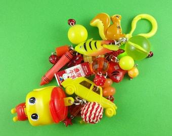 Red and Yellow Bag Charm, Fueki mascot keychain, big kitsch keyring, toys charms beads, Harajuku Decora, kawaii accessory, purse decoration