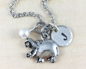 Personalized Hippopotamus Charm Necklace, Personalized With Initial Charm And Birthstone, Silver Hippo Necklace, Hippo Charm Jewelry