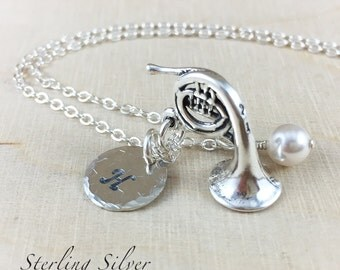 Personalized Necklace - French Horn Charm Necklace - Stamped Initial - Hand Stamped Necklace - Sterling Silver - Personalized Jewelry
