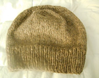 Hand knit knitted wool watch cap hat beanie fawn brown New Hampshire grown yarn unisex men women one size