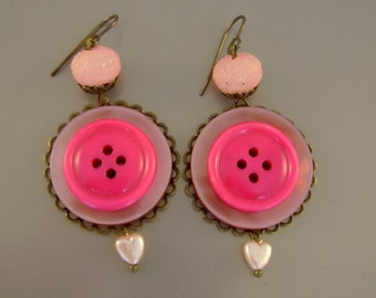Buttoned Up in Pink - Vintage Pink Buttons, Rosary Beads, Recycled Repurposed Jewelry Earrings