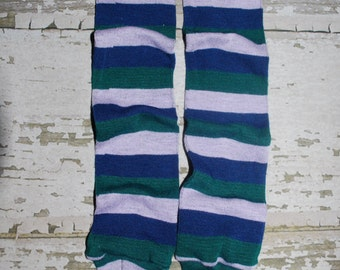 baby leg warmers, purple, blue, green, stripes, babylegs, leggings, girl, boy, leg warmers, legwarmers, crawler covers, tights, footless