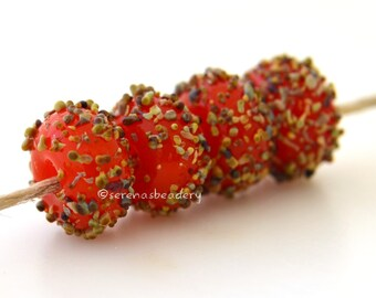 ORANGE RAKU brown Sugar Lampwork Glass Beads Set Handmade - taneres - 12 mm