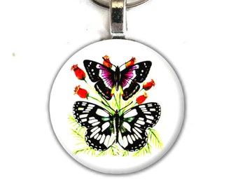 Art Button Pendant Keychain Butterfly vintage nature art charm button swivel lobster hook unique finds 3