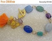Valentine Winter Tone Bracelet, Angelite, Amethyst, Amazonite, Aquamarine, Glass Beads, Green Tassel, Gemstone