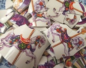 Mosaic Tiles Tesserae Broken Plates DIshes Art Supply Crafts Hand Cut Carousel Horses Roses Flowers 100