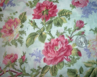 Quilt Fabric Destash  Roses and Lilacs on White  By the Half Yard