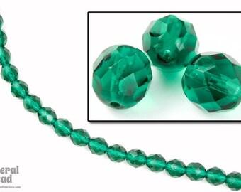 8mm Transparent Emerald Fire Polished Bead (25 Pcs)  #GBF008